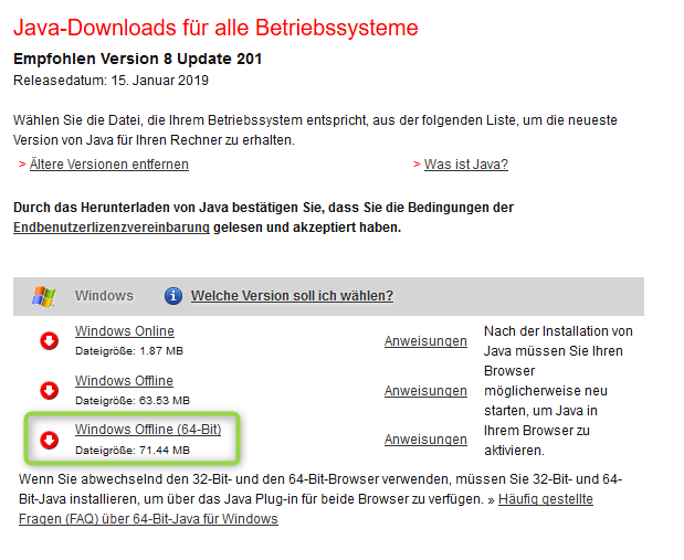 Download von Java bei Sun